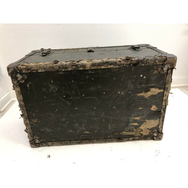 Vintage Industrial Green Military Foot Locker Trunk For Sale - Image 12 of 13