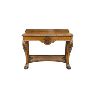 19th Century English Victorian Carved Golden Tiger Oak Console Table For Sale