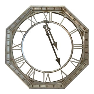 Antique Large Metal Clock Face With Hands For Sale