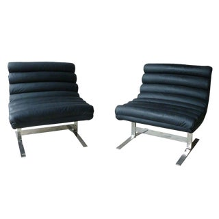 70's Adrian Pearsall Craft Associates Black Leather Chrome Lounge Chairs - A Pair For Sale