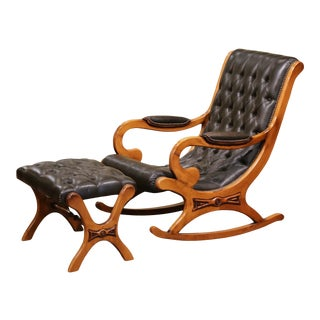 Midcentury French Carved Cherry and Leather Rocking Armchair With Footstool For Sale