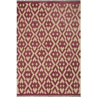 Modern Abstract Kilim Anjelica Hand-Woven Wool Rug -5′11″ × 8′4″ For Sale