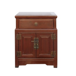 Oriental Distressed Brick Red Metal Hardware End Table Nightstand For Sale