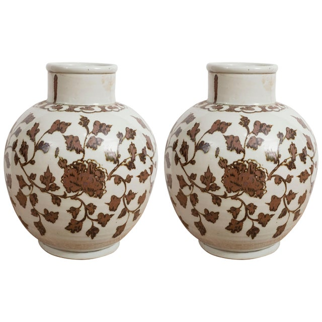 Brown Large Brown and White Chinese Export Vases - A Pair For Sale - Image 8 of 8