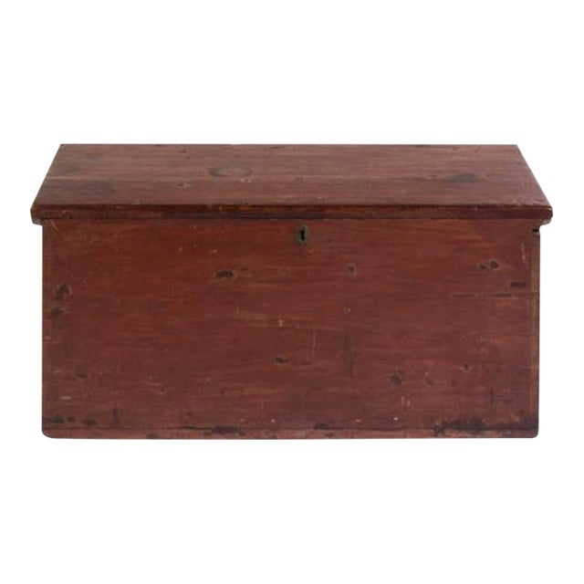 Handsome 19th Century American Painted Trunk With Lovely Worn Painted Finish For Sale