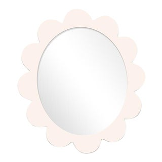 Fleur Home x Chairish Iris Oval Mirror in Frosted Petal, 31x26 For Sale