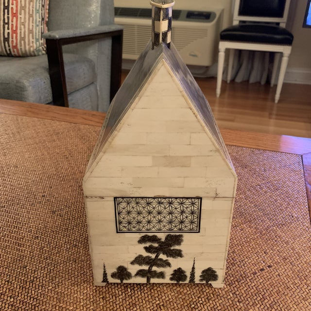 Paint 1990s John Rosselli Hand Painted House Shaped Money Box For Sale - Image 7 of 10