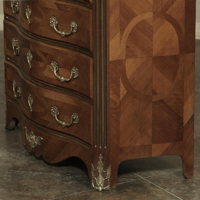 19th Century French Louis XIV Marble Top Commode With Marquetry For Sale - Image 9 of 11