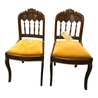 Vintage Dark Wood Small Chairs With Yellow Seat Padding - a Pair