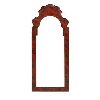 Red Faux Turtle Shell Bordered Mirror For Sale