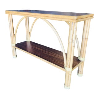 """Restored Rattan """"Double Arch"""" Sofa or Console Table With Two Tier Mahogany Tops For Sale"""
