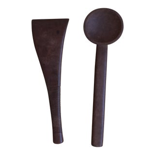 Mid-Century Modern Wood Serving Utensils - a Pair For Sale