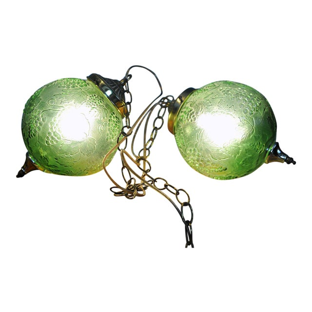 Vintage Green Glass Globe Pendants - Image 1 of 3