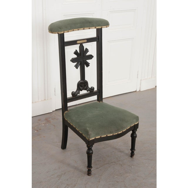 Mid 19th Century French 19th Century Upholstered and Ebonized Prie Dieu For Sale - Image 5 of 13