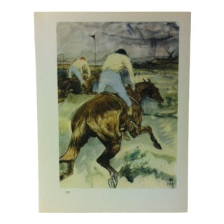 """Circa 1980 """"Horse Race 1899"""" Color Print of a Toulouse-Lautrec Drawing For Sale"""