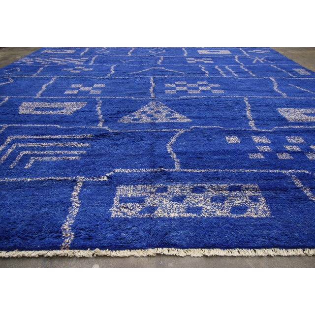 New Contemporary Blue Moroccan Area Rug With Modern Bauhaus Style - 12'4 X 15'3 For Sale - Image 10 of 10