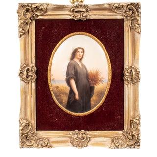 Wagner Continental Framed Painted Porcelain Plaque For Sale