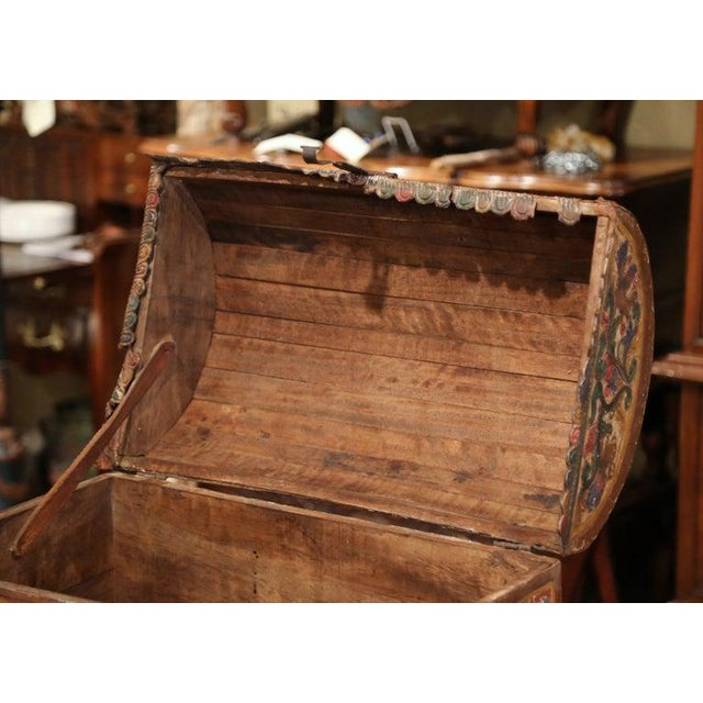 18th Century German Gothic Painted Decorative Bombe Box Wedding Trunk For Sale - Image 9 of 13