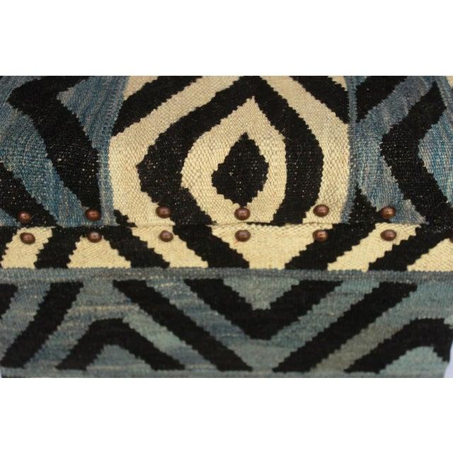 Textile Delois Blue/Ivory Kilim Upholstered Handmade Storage Ottoman For Sale - Image 7 of 8