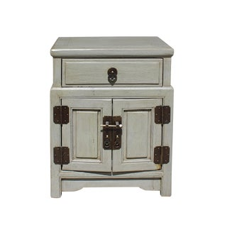 Chinese Distressed Light Gray Metal Hardware End Table Nightstand