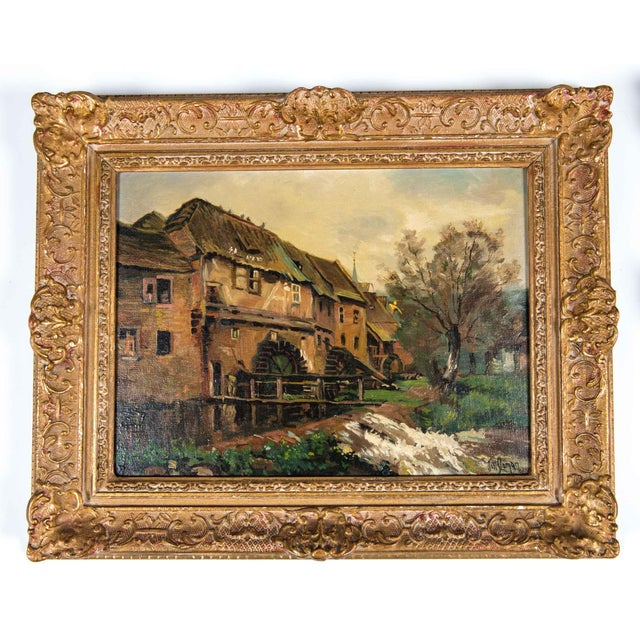 Antique pair late 19th century oil painting on board with gilt wood frame. Each painting is in excellent antique...