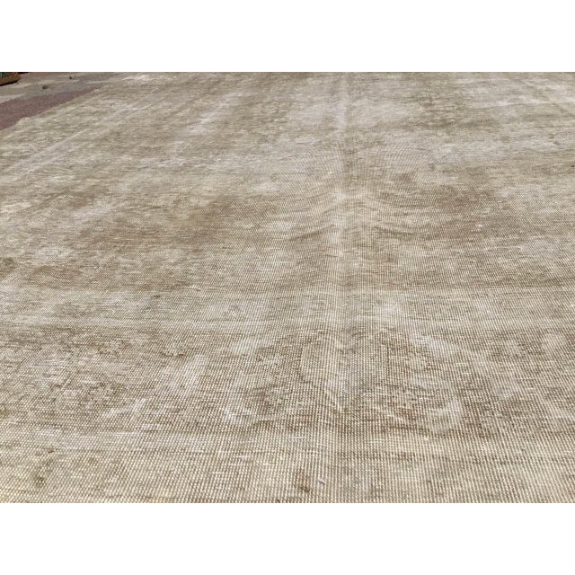 Beige Oversized Antique Distressed Hand Knotted Oushak Rug For Sale - Image 8 of 11