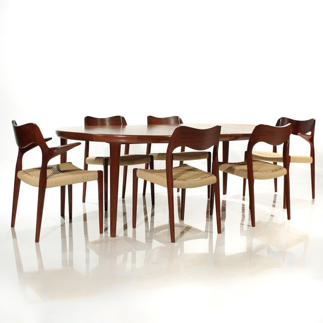 Møller Model 71 & 55 Chairs and Vv Møbler Extension Table - 7 Piece Dining Set For Sale - Image 12 of 12