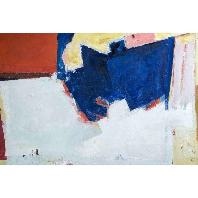 1960s Abstract painting in blue, red and white.