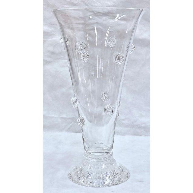 Steuben Steuben Swirled Crystal Vase For Sale - Image 4 of 13
