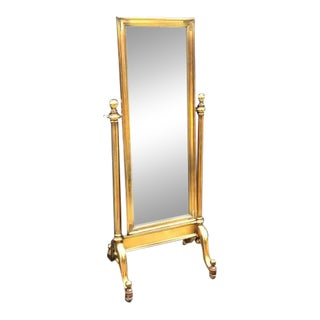 Drexel Heritage Gilt Campaign Cheval Floor Mirror For Sale