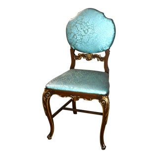 Vintage Carved Walnut French Style Vanity Chair With Turquoise Patterned Fabric For Sale