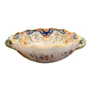 19th Century French Hand Painted Faience Decorative Bowl With Leaf Decor For Sale