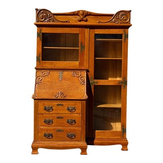 Antique Victorian Quartersawn Oak Bookcase Side by Side Secretary by Larkin For Sale