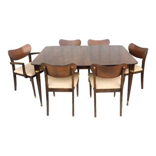 Mid-Century Modern Dining Room Set With Table and Six Chairs For Sale