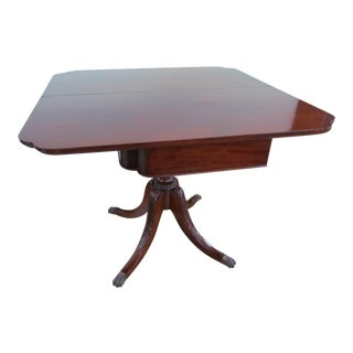 1930s Traditional Solid Mahogany Carved Base Card Table Dual Dining Table For Sale