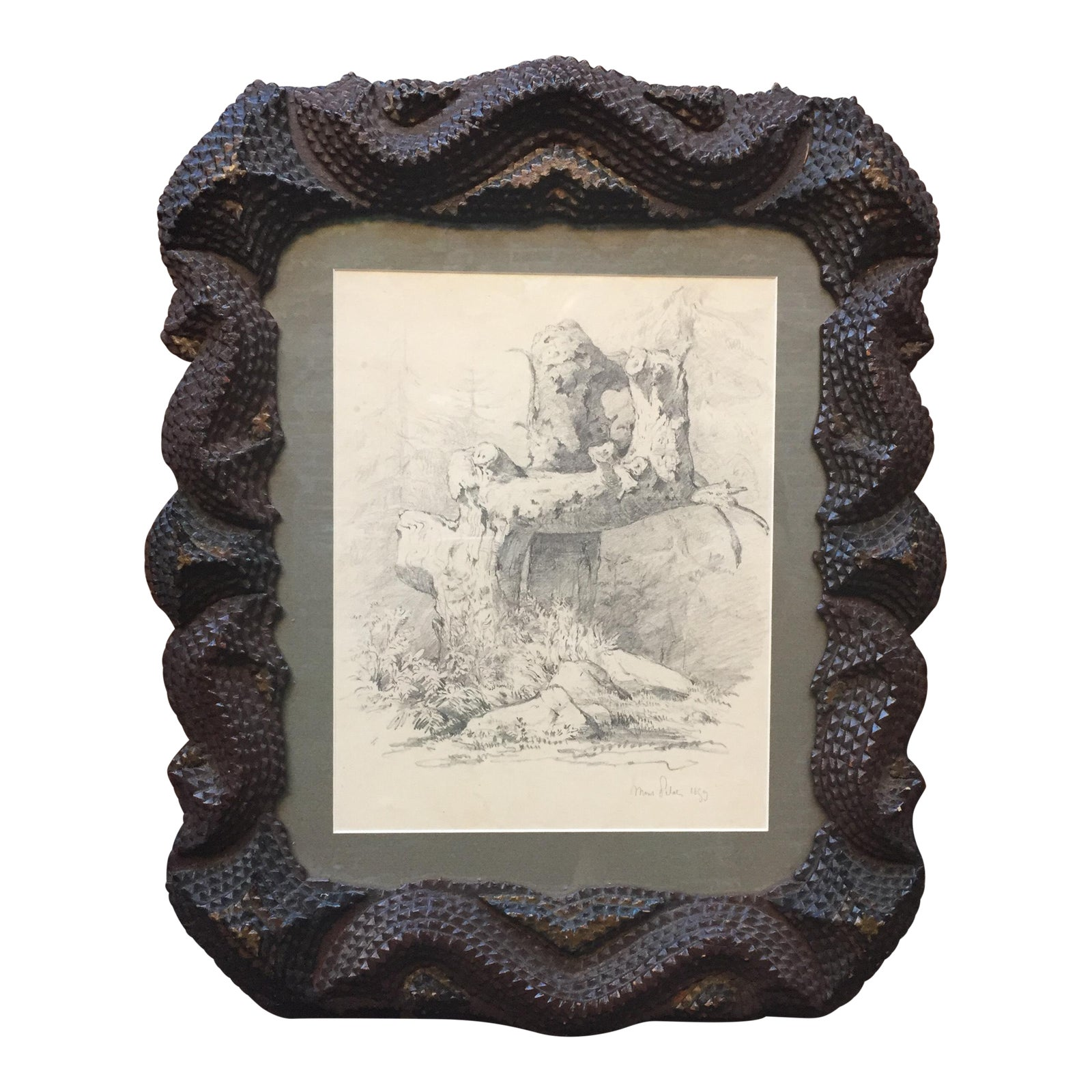 Serpentine Tramp Art Frame With Graphite Drawing | Chairish