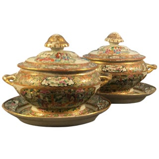 Chinese Export Covered Sauce Tureens With Underplates - a Pair For Sale