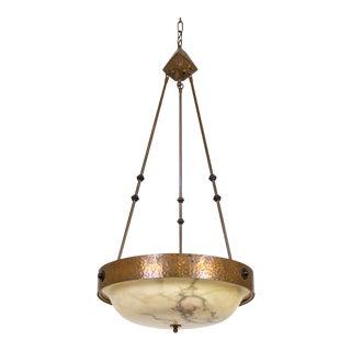 1970s American Craftsman Style Hammered Copper & Alabaster Pendant Light For Sale