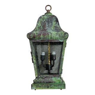 1990s Four Sides Brass Hanging Lantern For Sale
