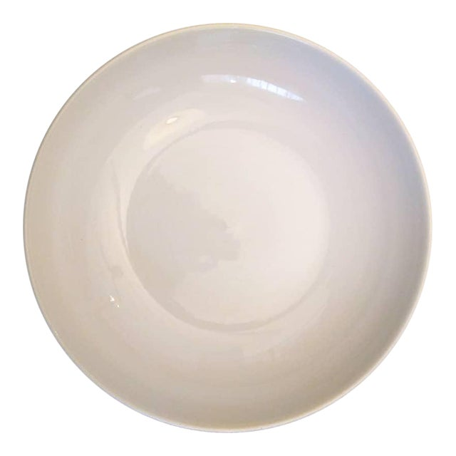 Extra Large Glazed Ceramic Glossy White Shallow Serving Bowl For Sale