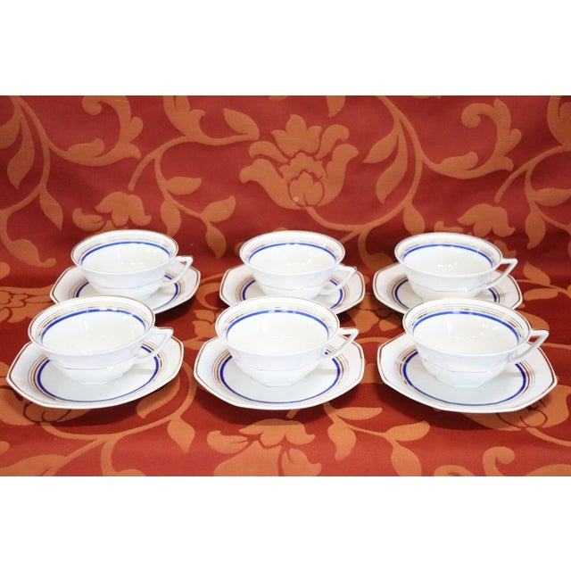 Ceramic French Hand Painted and Gold Porcelain Tea or Coffee Set by Limoges 15 Pieces For Sale - Image 7 of 13