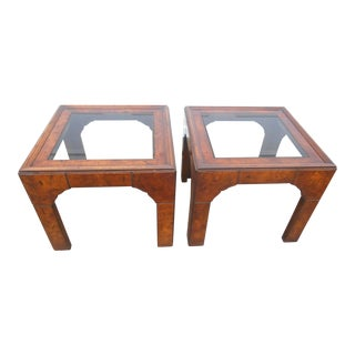 1960s Mid-Century Modern Burl Walnut End Tables - a Pair For Sale