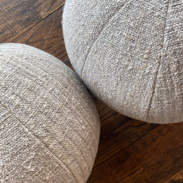 Contemporary German Linen Ball Pillow For Sale - Image 3 of 5