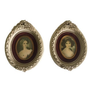 Vintage 18th C Style Miniature Florentine Framed Portrait Prints - A Pair For Sale