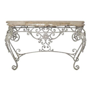 Marble Top White Washed Iron Console Table For Sale
