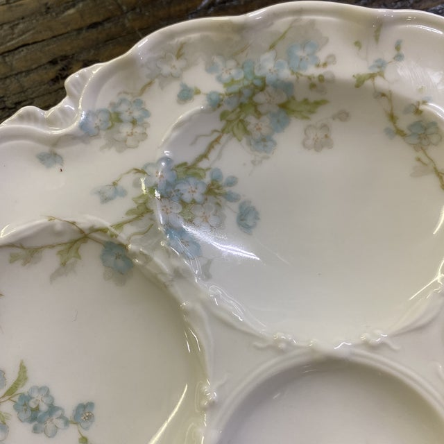 Hand painted-Haviland Limoge Oyster plate 9 inches 1/8 no damage no cracks in excellent condition 5 Well Center...