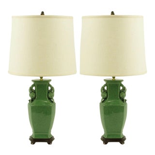 Pair Jade Green Crackle Glaze Urn Form Table Lamps For Sale