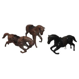 Collection of Three Leather Handmade Horses For Sale
