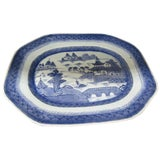 Image of 19th Century Chinese Export Blue and White Canton Ware Platter For Sale