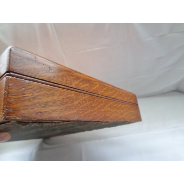 Late 20th Century Antique Golden Oak Silver Chest /Service Box for Flatware For Sale - Image 5 of 11